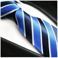 Paul Malone Krawatte blau gestreift - hellblau dunkelblaue Seidenkrawatte 454