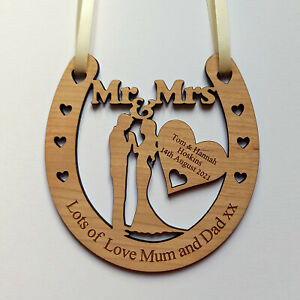 Personalised Wooden Wedding Horseshoe Bridal Keepsake Gift Plaque Christmas Gift