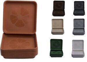 Set of 10 Home Garden Ornaments Square  Plastic Plant Pot Saucers Drip Trays