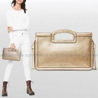 NWT 🌼 Michael Kors Berkley Legacy Leather Clutch Shoulder Bag Pale Gold