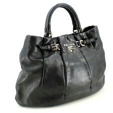 Auténtico Prada Daino Vitello Top Handle Tote Bag en Cuero Negro RRP £ 1,450