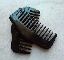 """3.8"""" Nice Smooth Natural Black Ox Horn Unisex Wide-toothed Comb"""