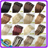"""15""""16""""18""""20""""22""""24""""26""""28""""30"""" Clip In 100% Real Remy Human Hair Extension 7pcs/set"""