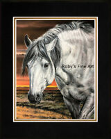 """Wild Mustang Stallion Art Print Matted 8""""x10"""" """"Silver"""" by Roby Baer PSA"""