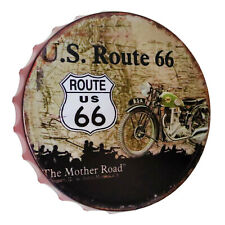 Shabby Blechschild Wandbild Kronkorken US Route 66 Motorrad Bike 30 cm Ø Retro