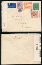 ANTIGUA 1942 CENSORED AIRMAIL 6d CONTROL MULTI FRANKING to BERMUDA
