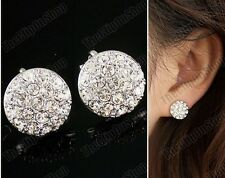 CLIP ON 1.2cm CRYSTAL silver rhinestone EARRINGS fake studs CLIPS sparkly round