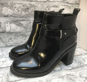 OFFICE LADIES BLACK LEATHER HIGH HEELED ANKLE BOOTS SIZE 5 UK 38 EUR