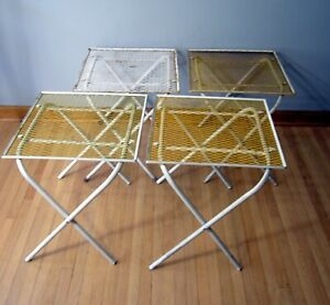 4 Metal White Mesh Outdoor Vtg Patio Folding Table Plant Stand Set Square MCM