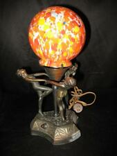 Early 1900's Vintage Lamp Antique Lighting Lamps Art Deco End of Day Shade Nymph