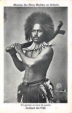 B86357 un guerrier en tenue de parade types folklore  fiji islands oceania