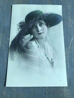 RPPC Tinted Antique Postcard LADY BIG GREEN HAT Germany UNPOSTED