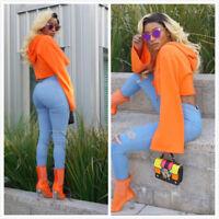 New Fashion Women Hoodie Sweatshirt Jumper Sweater Crop Coat Sports Pullover
