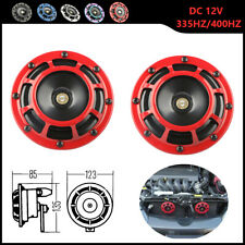 Red Electric Compact Car Horn Super Loud Blast Tone Grill Mount 12V 335HZ/400HZ