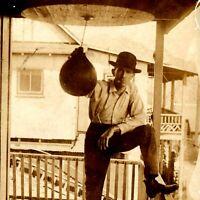 c1910s Cool Man on Porch w/ Boxing Punching Bag Real Photo Postcard RPPC Vtg A2