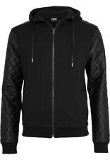Urban Classics Diamond Leather Imitation Sleeve Zip Hoody Jacke TB824 blk/blk L