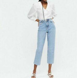 New Look White Poplin Broderie Collar Shirt  UK Size 10