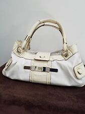 Womens white ivory medium hand bag purse, by Guess