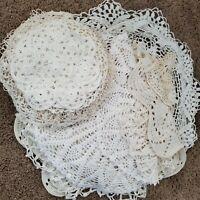 Vintage Mid Century Handmade Farmhouse 30 Crochet Doilies Table Cloths Runners