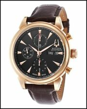 Bulova 64C104 Accutron Mens Gemini Mechanical Chronograp Rose Gold Plated Case,