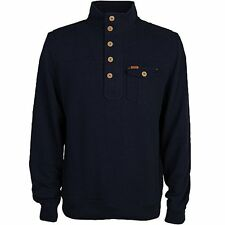 Duck & Cover ELIJAH Button Neck Top/Blue Black - 3XL WAS £60.00, NOW £30.00