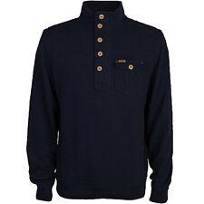 Duck & Cover ELIJAH Button Neck Top/Blue Black - 2XL WAS £60.00, NOW £30.00