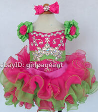 Infant/toddler/baby Hot pink/Green Crystals Floral Pageant Gliz Dress 2T G026A