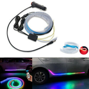 Car Streamer Waterfall Light Side Door Headlamp Colorful Atmosphere Pedal Lamp