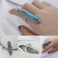 Women Men Big Blue Copper Turquoise Gemstone Ring Jewelry Indian Jewerry