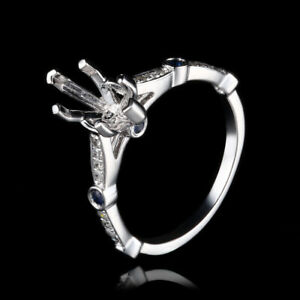 Semi Mount 7x12mm Marquise Solid 14K White Gold Diamonds Sapphires Gemstone Ring