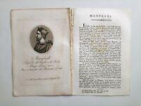 1817 Ortolani Ritratto/Bio di Manfredi Re di Puglia e Sicilia Palermo Benevento