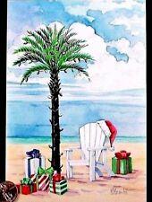 Palm Tree Chair Beach Presents Santa Hat Ocean Sea - Christmas Greeting Card New