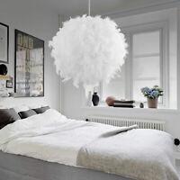 Modern White Feather Ceiling Light Pendant Lamp Chandelier Home Bedroom Decor