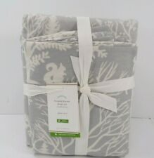 Pottery Barn Frosted Forest / Deer Organic Flannel Sheet Set Queen Gray #8285