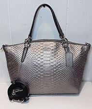 NWT Coach Python Leather Small Kelsey Silver/Gunmetal Satchel Crossbody F39779