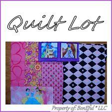 BonEful Fabric COTTON SCRAP QUILT LOT VTG Princess Girl Castle Pink Flower Block