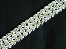 """3 Row Crystal Rhinestone Banding Trim Silver ~9/16""""~WM"""
