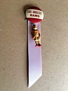 vintage 1940's-50's Los Angeles RAMS Pin Button Ribbons & football player charm