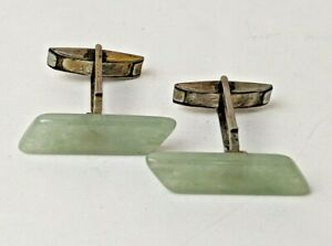 Antique Estate Vintage Jade Sterling Silver Cufflinks