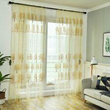 Floral Tulle Voile Door Sheer Window Curtain Romantic Drape Panel Lace Valances