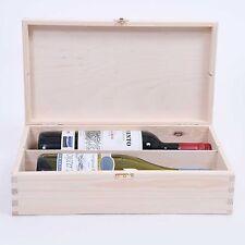 Scatola in legno vino o Champagne Doppia Bottiglia Pino Naturale Legno Metallo Fibbia sw242
