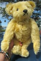 "STEIFF TEDDY BEAR YELLOW BLONDE MOHAIR METAL BLANK EAR BUTTON 12"" ADORABLE TOY"