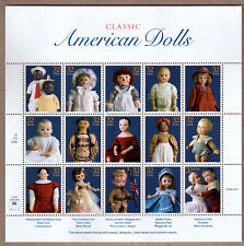 1996 CLASSIC AMERICAN DOLLS 32 CENT STAMPS UNCUT SHEET! UNHINGED, MINT!