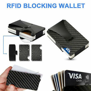 Metal Slim Carbon Fibre Credit Card Holder RFID Blocking Wallet Money Clip Purse