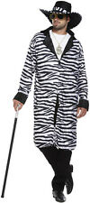 Zebra Print Pimp Gangster Mens Fancy Dress Costume Outfit Size M-L