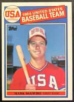 MARK MCGWIRE 1985 TOPPS TEAM USA OLYMPIC ROOKIE CARD #401