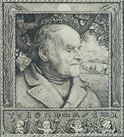 THOMA, Kopf eines Bauern, 1893, Federlithographie