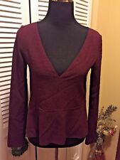 See by Chloe Women's Burgundy Red Jacquard Peplum Top NWOT - Size 34
