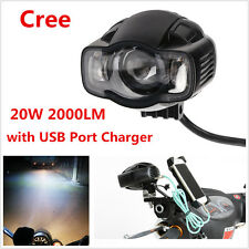 20W 2000LM Motorcycle LED Spot Driving Fog Lamp DRL Light with USB Port Charger