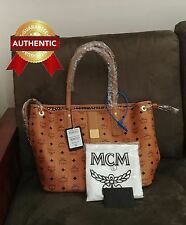 NEW Authentic MCM Medium Reversible Liz Shopper tote bag Cognac